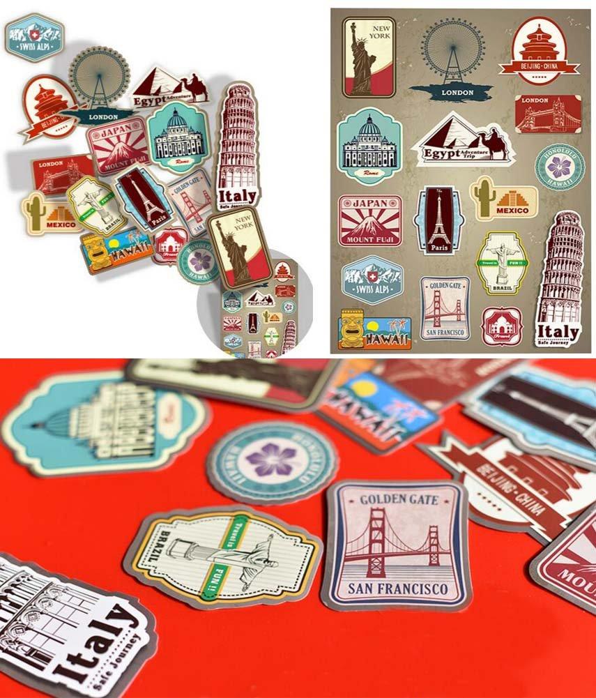 Multi Countries Retro Vintage Landmark Waterproof Stickers for Laptops Skateboards Luggage