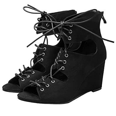 fc4a07cb27b Luoika Women s Toe Wedges Sandals Fashion Strap Suede  Shoes(Black