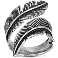 MOWOM Silver Tone Black Stainless Steel Ring Feather