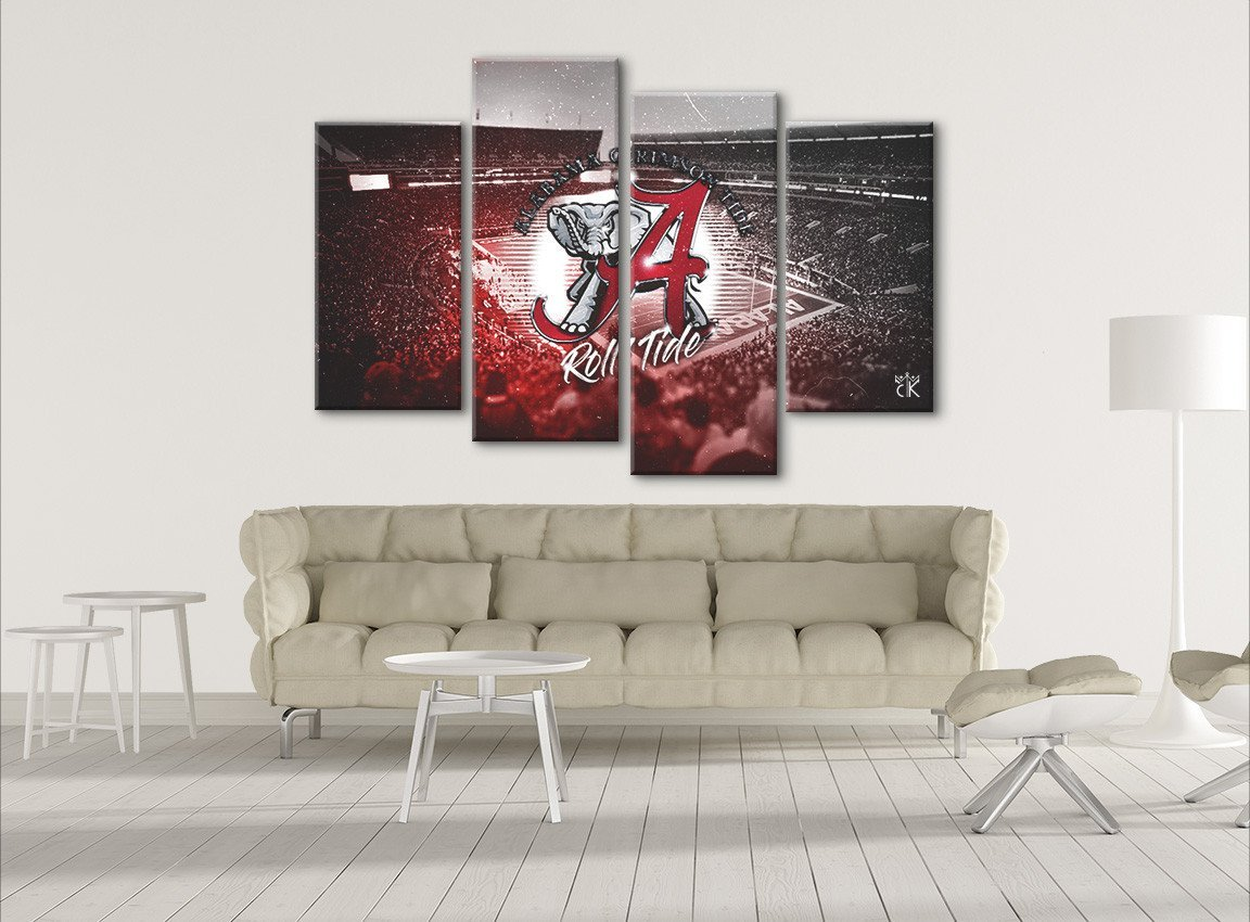 Alabama Crimson Tide College Football Canvas - Stretched and Framed Artwork - Hand Made In The US