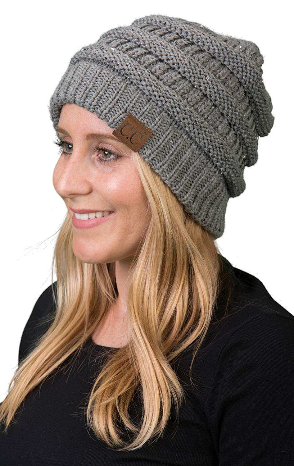 Funky Junque H-6020a-73051 Solid Ribbed Beanie - Sequin Heather Grey
