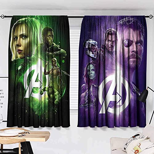 Avengers Infinity war Black Widow Black Panther okoye Hulk Thor Star Lord Gamora Drax Groot Rocket Raccoon Customized Curtains