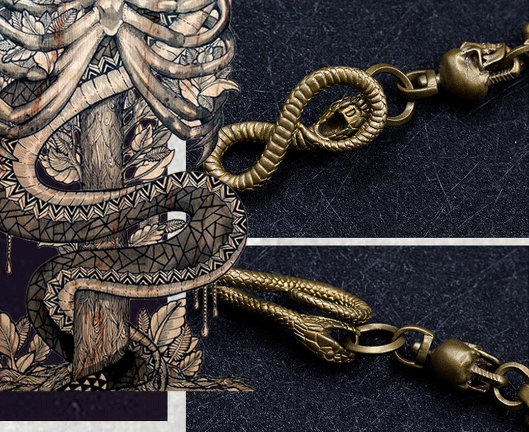 Retro Collectable Skull Golden Solid brass Punk Snake Fob Pants wallet Chain hooks Keychain Key Ring Punk 51 cm / 200g