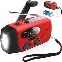 Solar Radio Portátil, AngLink Radio Dinamo con Manivela de Autoalimentado AM/FM/WB Weather Radio | Linterna LED | Teléfono Cargador para Aire Libre, Senderismo, Camping, Casa y Emergencia