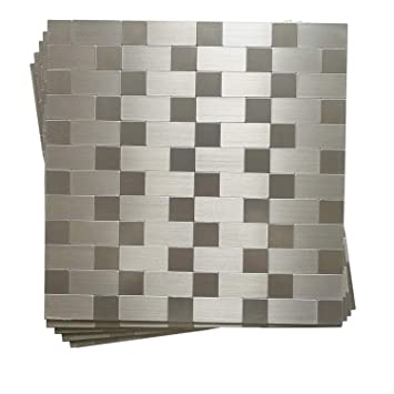 Hometile Peel And Stick Tile Backsplashes Stainless Steel Stick On