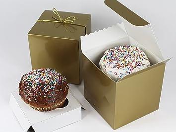 Amazon 10 gold gold single cupcake gift box set with inserts 10 gold gold single cupcake gift box set with inserts and metallic negle Images