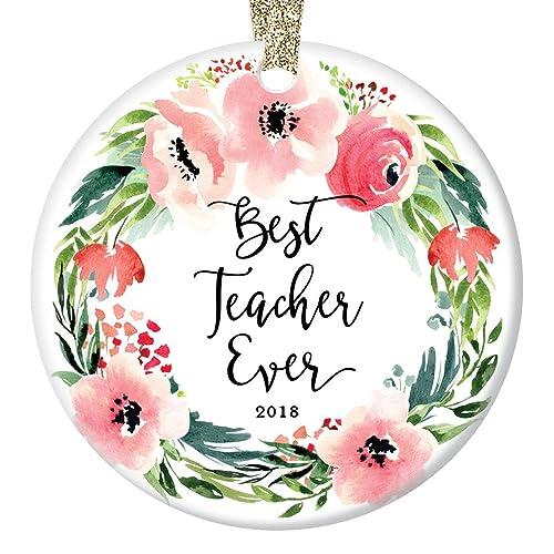 Amazoncom Best Teacher Ever Christmas Ornament 2018 Favorite