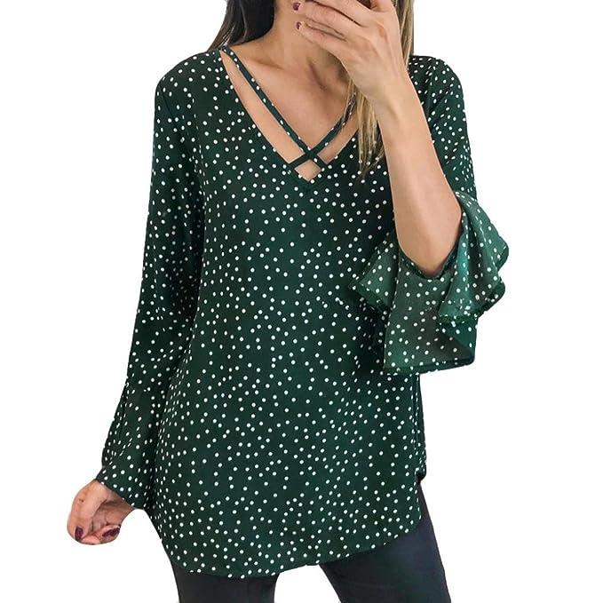 Tefamore Camisetas Mujer, Otoño Cuello En V Camisetas Manga Larga Volantes Impreso T