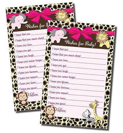 Amazon.com: Deseos para bebé – Niña Baby Shower Game – Selva ...