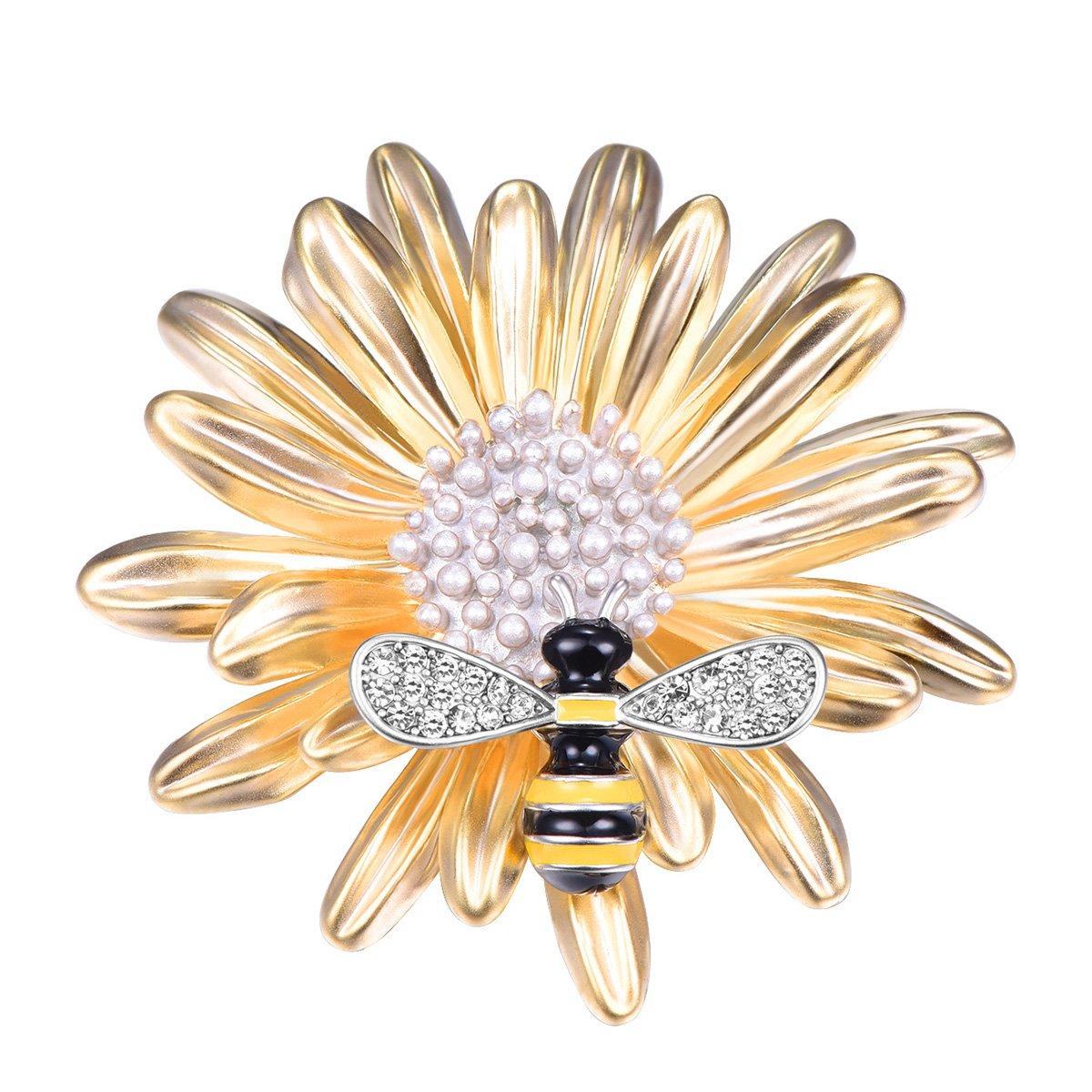 FOCALOOK Women's Daisy Flower Charm Enamel Bee Crystal Art Deco Gold Plated Large Rhinestone Brooch Pins