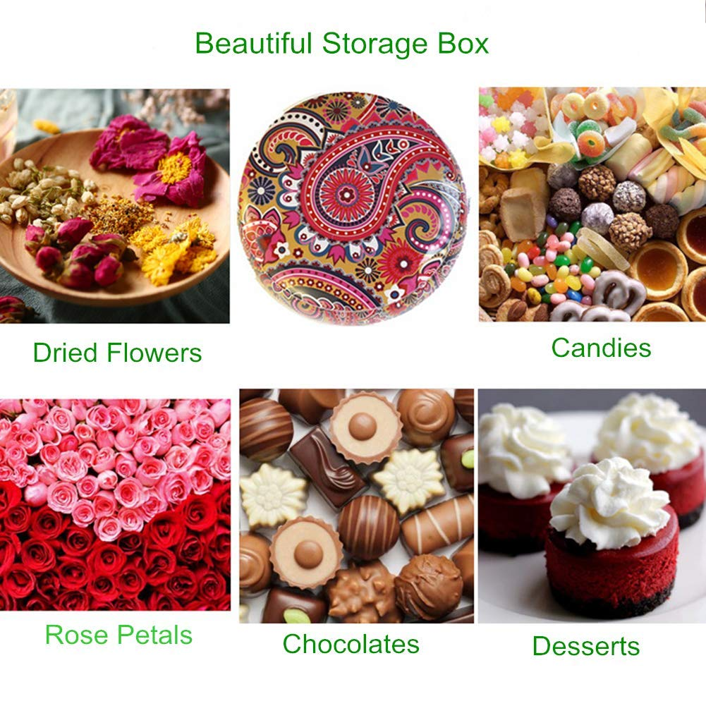 Candle Making Kit Candle Making Containers Round Shape Empty Metal Tin Jars for Party Favors Coffee Tea Spice Candy Jewelry Storage Case Round Shape Vintage Printed Metal Storage Case with Lid 6 PCS