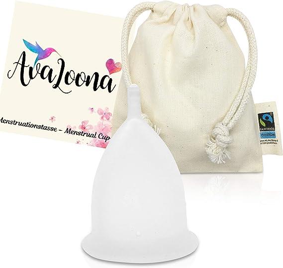 Copa Menstrual AvaLoona de Silicona de Grado Médico (blanco, pequeño)