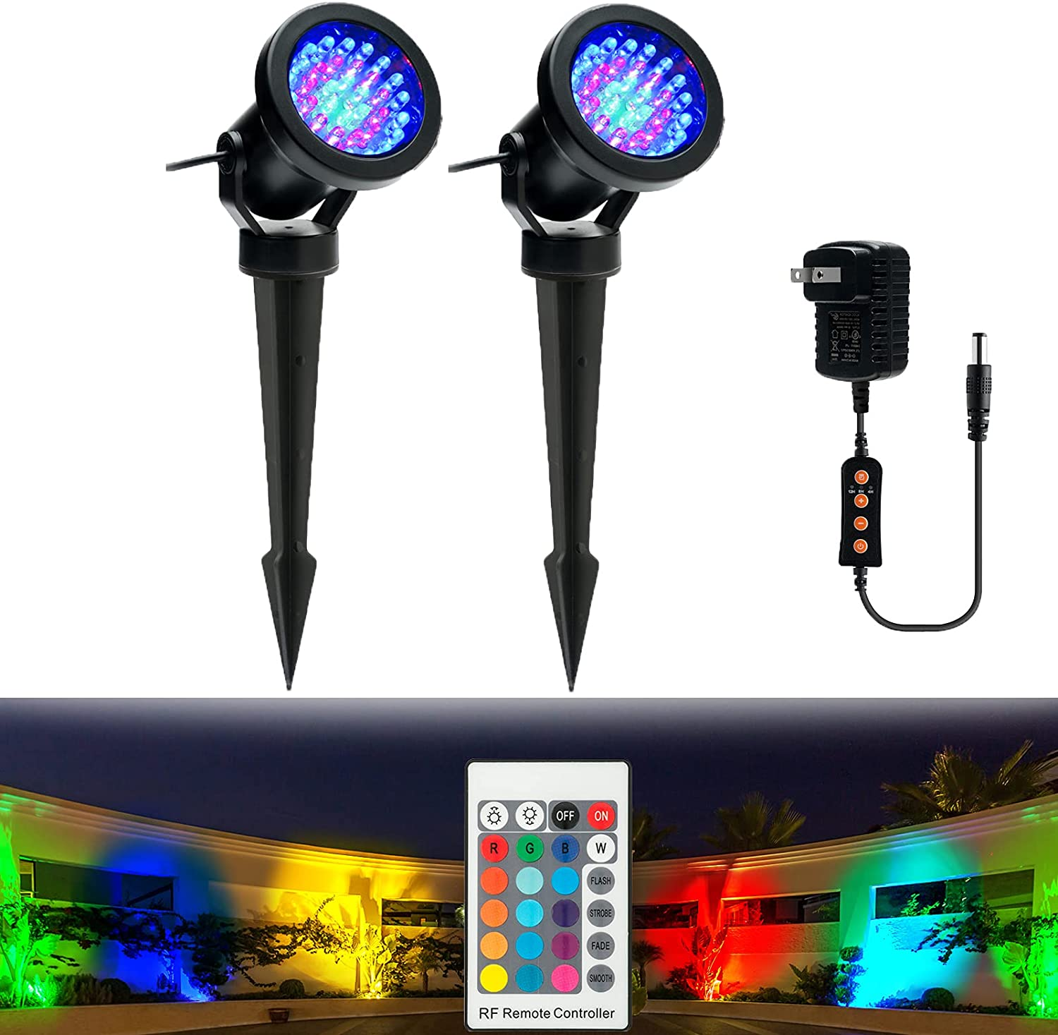 Outdoor Landscape Spotlights, Color Changing Dimmable with Timer IP66 Waterproof LED Landscape Lights, Outdoor Spotlights with Spike Stand for Garden Yard Lawn Pathway Flag Trees Uplights, 2 in Set