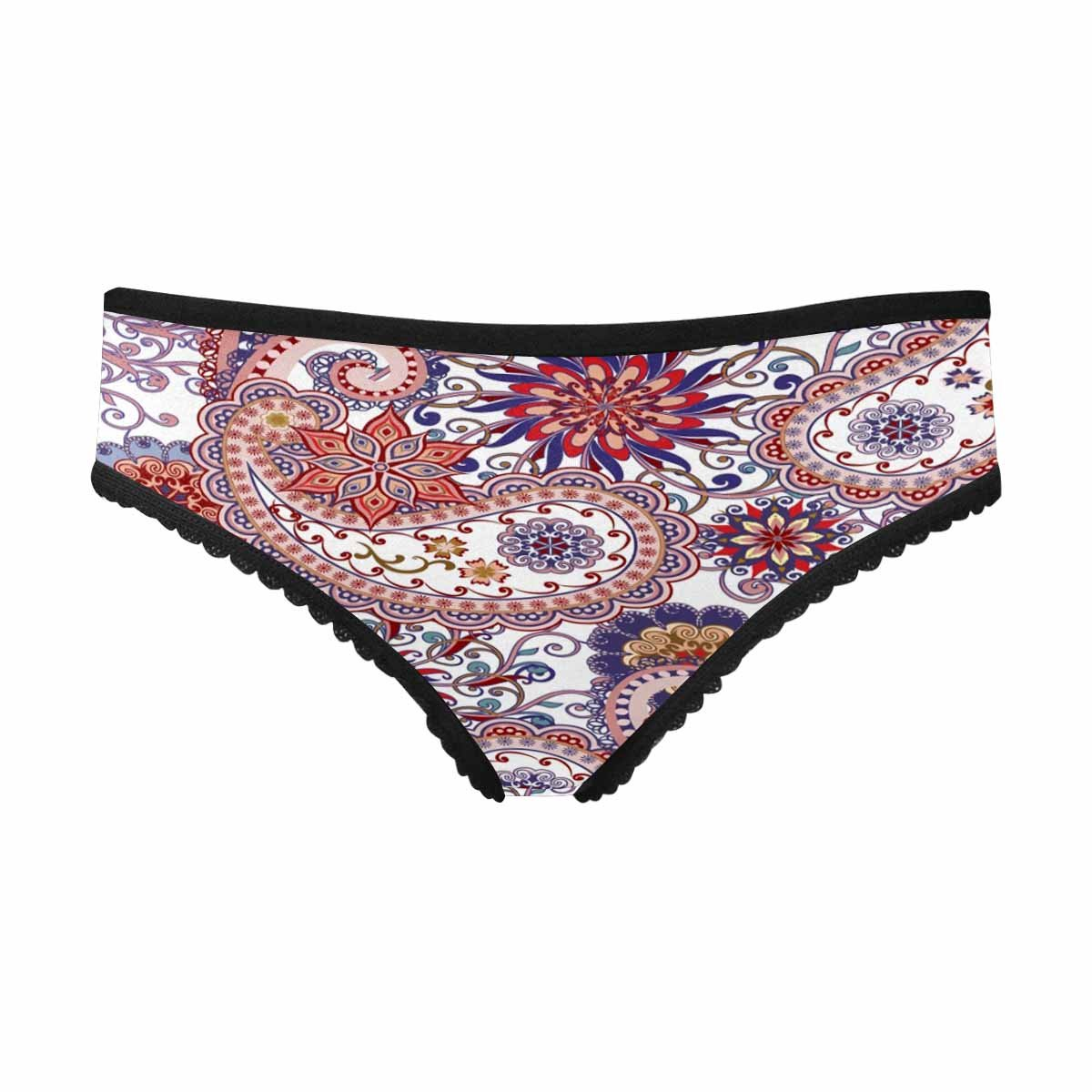 InterestPrint Women's Brief Panty Mandalas and Paisley Pattern in Indian Style S
