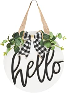 LEJHOME Hello Wreath Sign Front Door - Wood Hello Welcome Sign for Rustic Farmhouse Porch Decorations - Door Hangers Front Porch Decor Outdoor Hanging Sign White