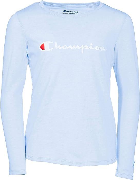 590f733b Champion Girls Heritage Long Sleeve Logo Tee Shirt (Small, Light Blue)