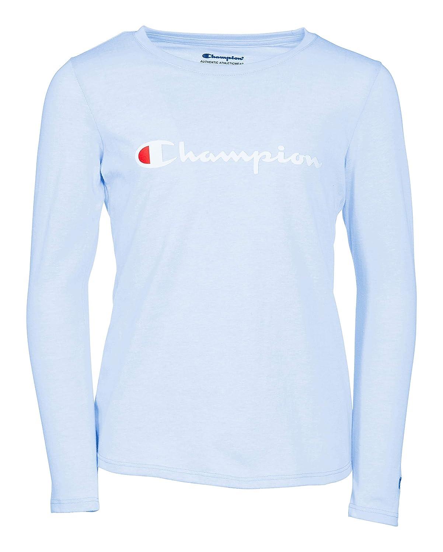 22ef19fd Champion Girls Heritage Long Sleeve Logo Tee Shirt: Amazon.co.uk: Clothing