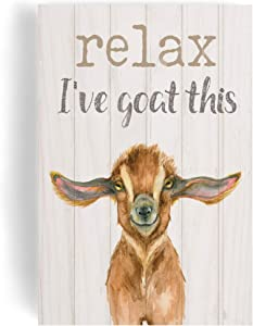 P. Graham Dunn Relax I've Goat This Cream 5 x 3.5 Pine Wood Decorative Tabletop Word Block Plaque