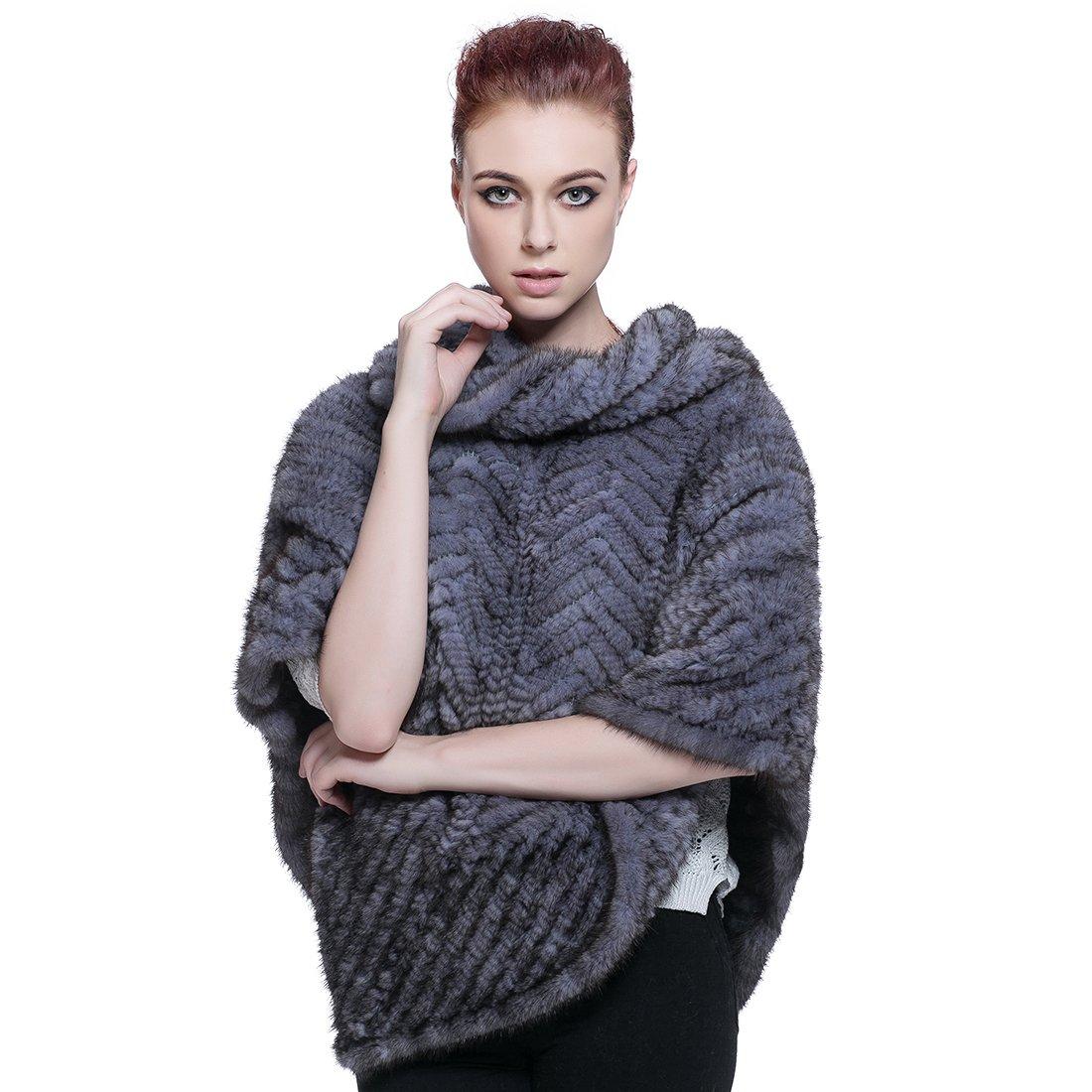 URSFUR Women's Winter Mink Fur Knit Stunning Cape Shawl by URSFUR