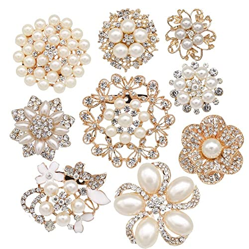 Wedding Supplies Lovely Diamante Brooches Pack Of 6 Wedding Bridal Bouquet Decoration Jewellery