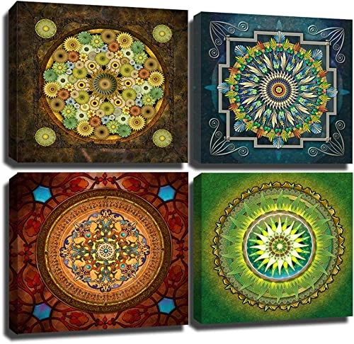 Yumeart Wall Decor Artwork Religion Mandala Flower Pattern Giclee Pictures Canvas Prints on Modern Stretched and Framed Canvas Wall Art Artwork