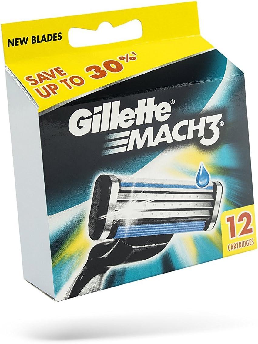 Gillette Mach3 - Recambios para cuchilla de afeitar, 12 unidades ...