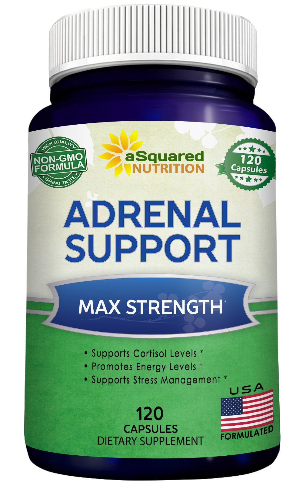 Adrenal Support & Cortisol Manager Supplement (120 Capsules) - Adrenal Health Complex Pills to Support Fatigue, Cortisol Levels & Calm Stress Relief - Ashwagandha, L-Tyrosine, Rhodiola & Ginseng