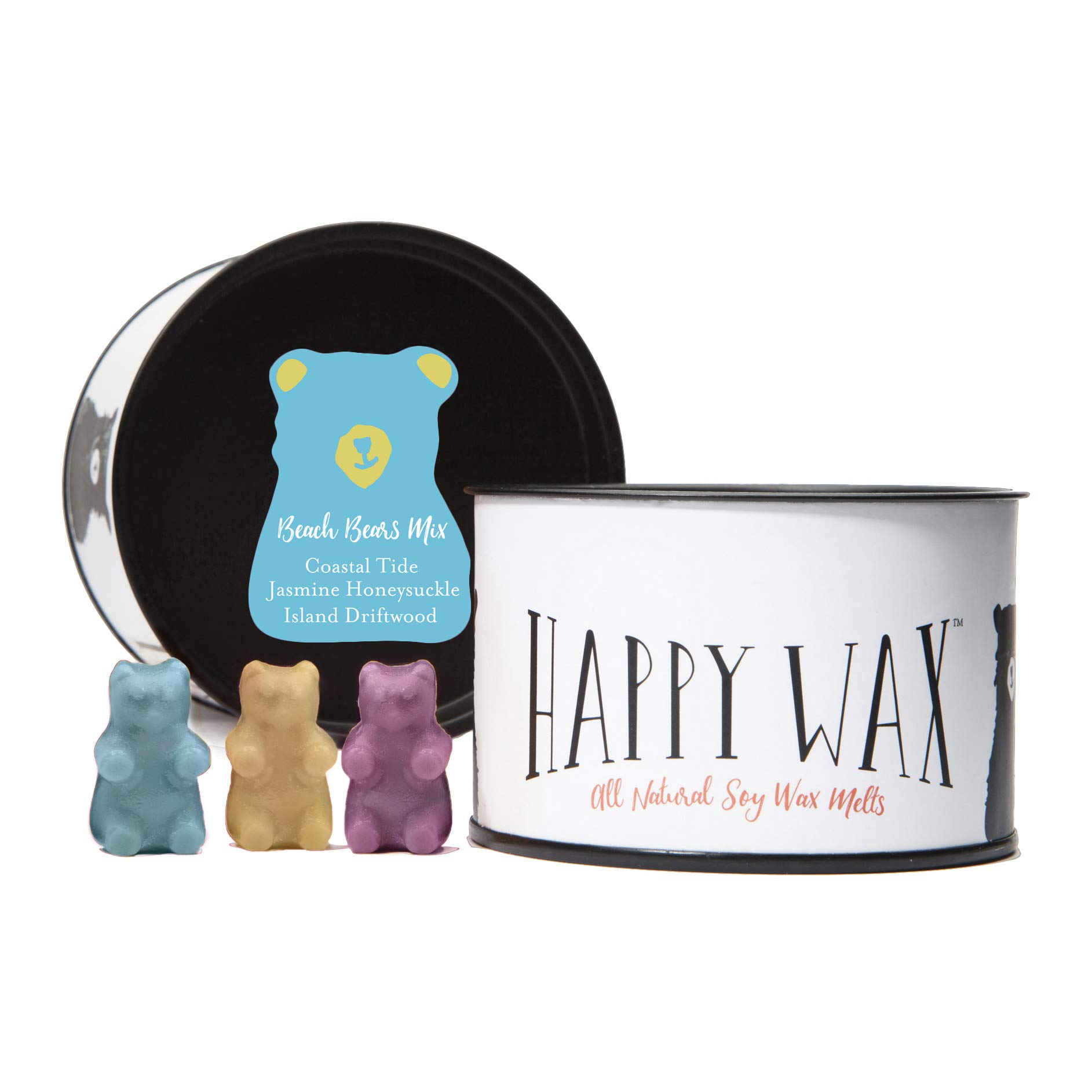 Happy Wax - Four Mixed Tins Wax Melt Sampler Gift Set - Includes 3.6 Oz Each of Our Scented Soy Wax Melts in Our Spa Day Mix, Beach Bears Mix, Citrus Mix, and Fresh Mix! by Happy Wax (Image #3)