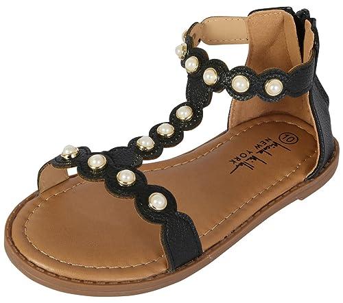 4b2ff4ac949de Nicole Miller New York Girls T-Strap Pearl Dress Sandal
