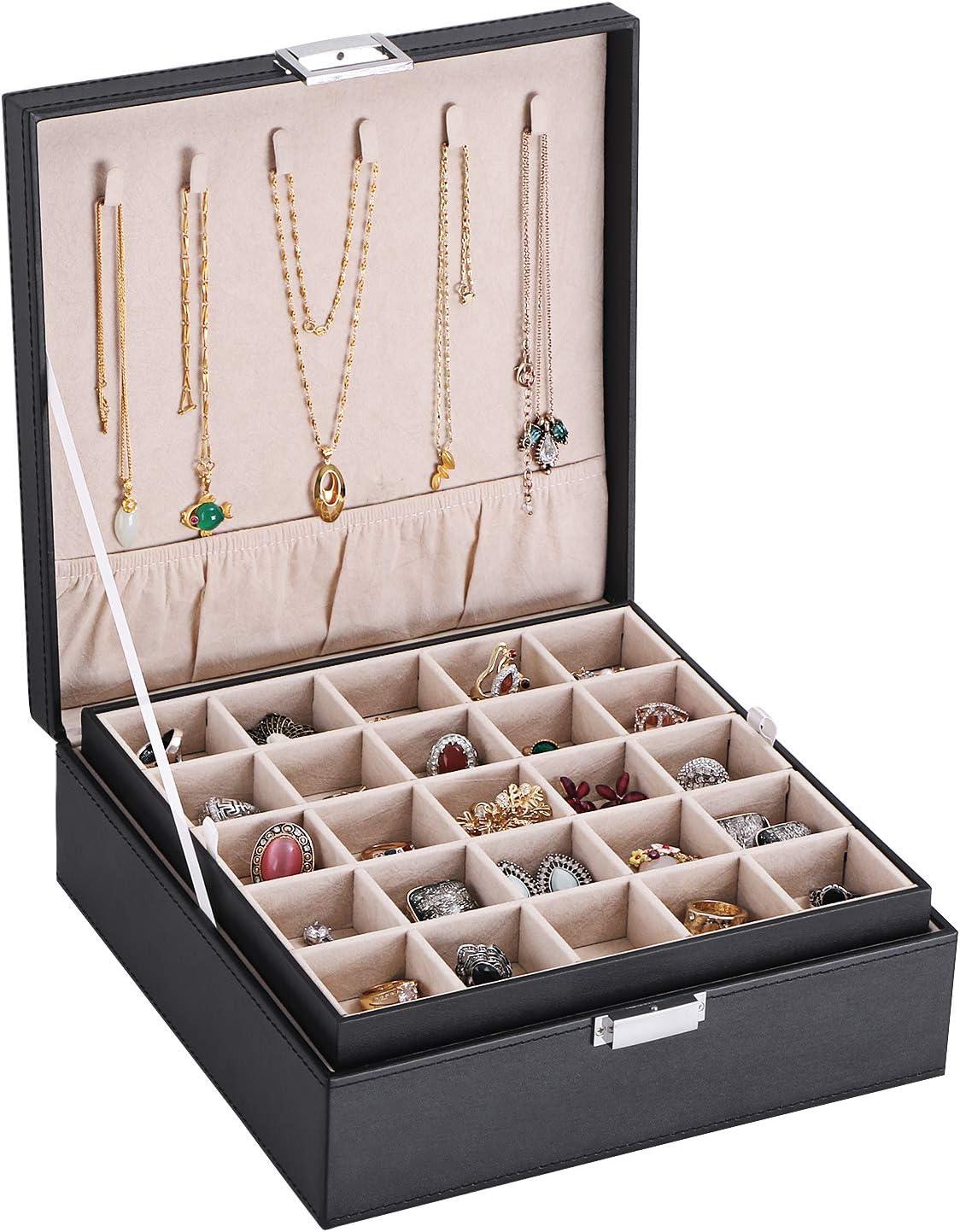 juego de 4 organizador de armario collares c/ómoda y caj/ón organizador para accesorios pulseras anillos beige Honeyhouse Bandejas apilables para joyas organizador de pendientes aparatos