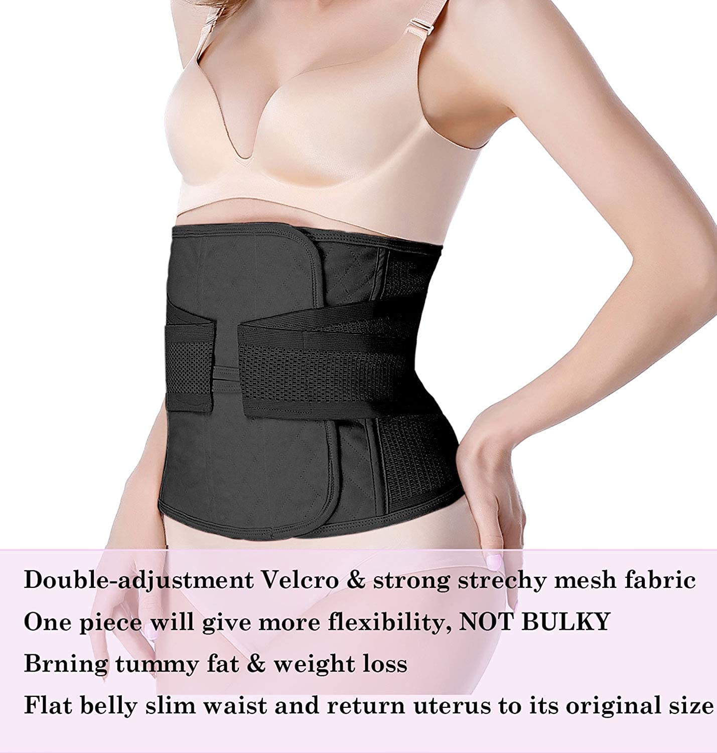 Moolida Postpartum Belly Wrap C Section Recovery Belt Belly Band Binder Back Support Waist Shapewear 2019 Upgraded Small Black