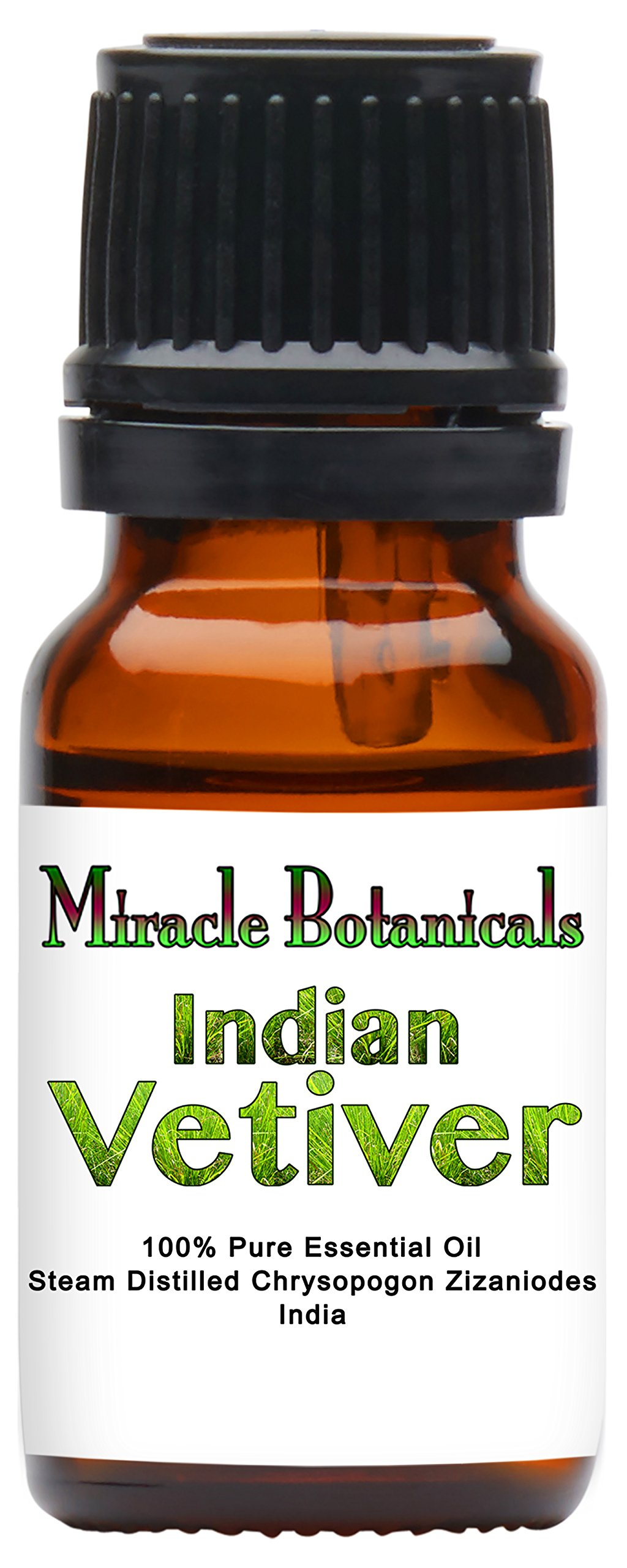Miracle Botanicals Indian Vetiver Essential Oil - 100% Pure Chrysopogon Zizanioides - 10ml or 30ml Sizes - Therapeutic Grade 10ml