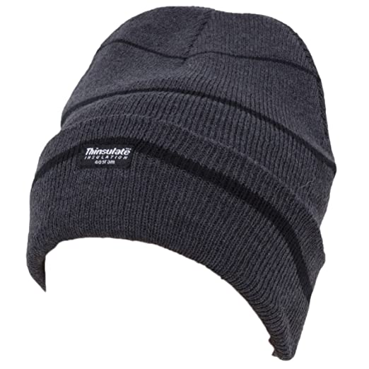 Amazon.com  Universal Textiles Mens Striped Thinsulate Knitted Thermal  Winter Ski Hat (3M 40g) (One Size) (Grey Black Stripes)  Clothing 183f9f261903