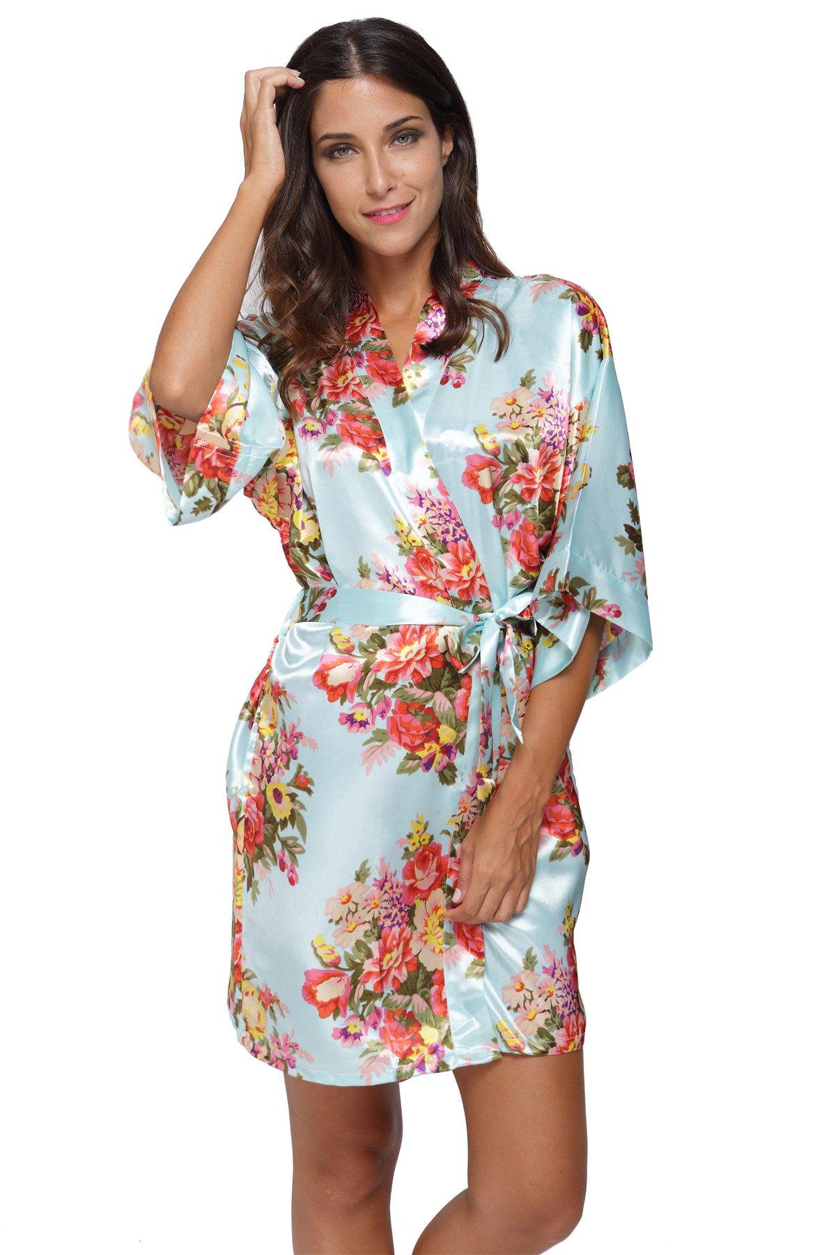 CostumeDeals KimonoDeals Women's dept Satin Short Floral Kimono Robe for Wedding Party, Aqua XL
