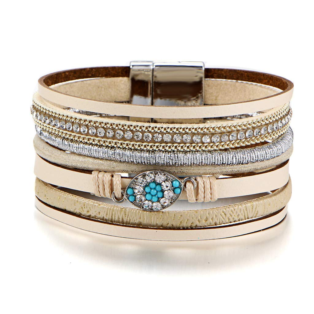 Gessppo Women Girl Multi-Layer Leather Bracelet Braided Cuff Magnetic Clasp Woven Rope Alloy Bangle Chain by Gessppo Women&Men Bracelet (Image #6)