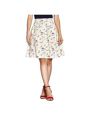 e9bf1ec541d YUMI Beach Print Skirt Ivory  Amazon.co.uk  Clothing