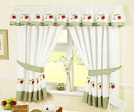 APPLES AND PEARS GREEN RED GINGHAM KITCHEN CURTAINS W46 X L42 INC TIE BACKS