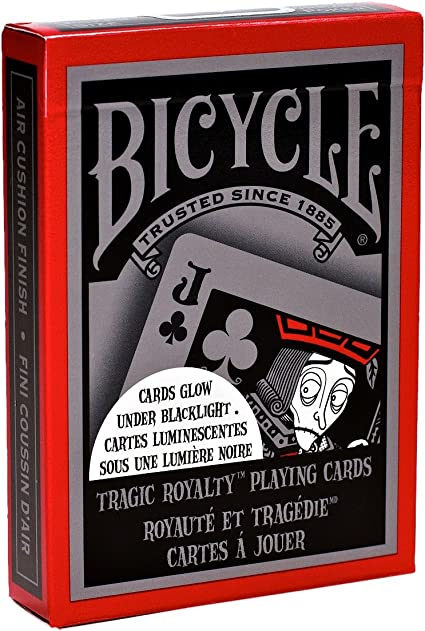 Bicycle Tragic Royalty Playing Cards Cards glow in the dark under Blacklight!