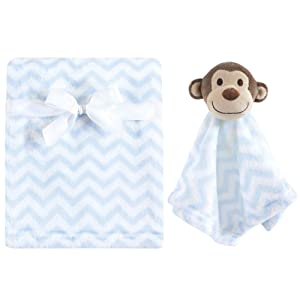 Hudson Baby Unisex Baby Plush Blanket with Security Blanket, Monkey 2 Piece, One Size