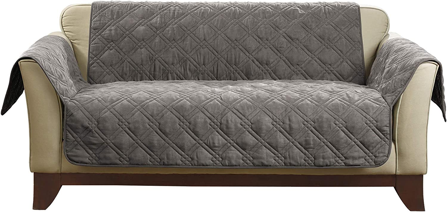 SureFit Home Décor SF44891 Microfiber Sofa Quilted Furniture Throw Pet Loveseat Cover, Relaxed Fit, Polyester, Machine Washable, One Piece, Dark Gray Color