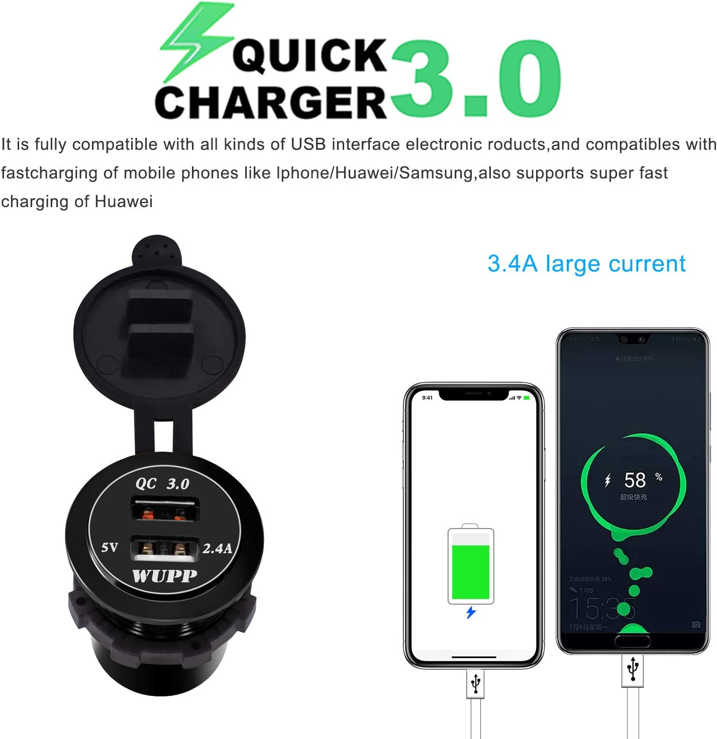 Silver BlueFire Upgraded Aluminum Alloy Fast Charging 3.0 USB Charger Socket IP66 Waterproof Dual USB Power Outlet with QC 3.0 USB Port /& 5V 2.4A Port Led Light for Car Boat Marine Rv Motorcycle