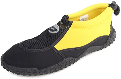 0455e70b8f8f Enimay Women s Outdoor Stretch Nylon Mesh Rubber Sole Adjustable Water Shoe  Black-Yellow 5