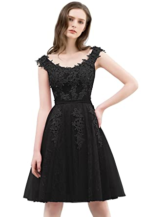 f903a28ca8f MisShow Women s Sleeveless Lace Appliques Evening Party Formal Dresses  Black US2