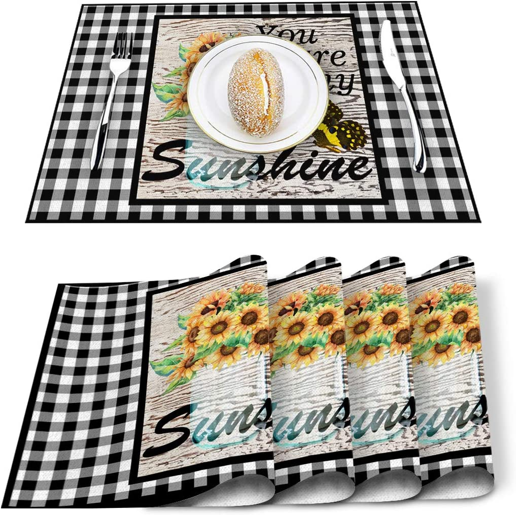 Amazon Com Cotton Linen Placemats Set Of 4 Centerpiece For Dining Table Washable Placemat Black White Checker Non Slip Heat Resistant Kitchen Table Mats Easy To Clean Fresh Sunflowers You Are My Sunshine Home