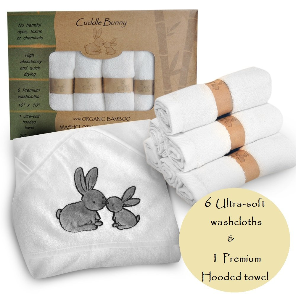 Easter Organic Bamboo Baby Hooded Towel and washcloth Set | 7 Pack | Luxurious for Sensitive Skin | Soft and Gentle | Great Gift for Baby Showers, Registry, Newborns and Toddlers | Bath,Beach or Pool by Cuddle Bunny Organics