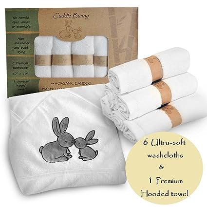 Cuddle Bunny Organics-7 - Juego de toalla con capucha y paños de baño de bambú orgánico para bebé ...
