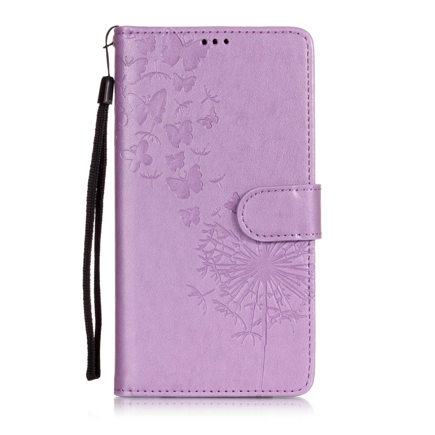 Shinyzone Protective Phone Case for LG G7,LG G7 ThinQ Case Embossed Butterfly Dandelion Pattern Series,Magnetic Stand Cover with Card Slots Leather Wallet Flip Case-Purple by Shinyzone (Image #2)
