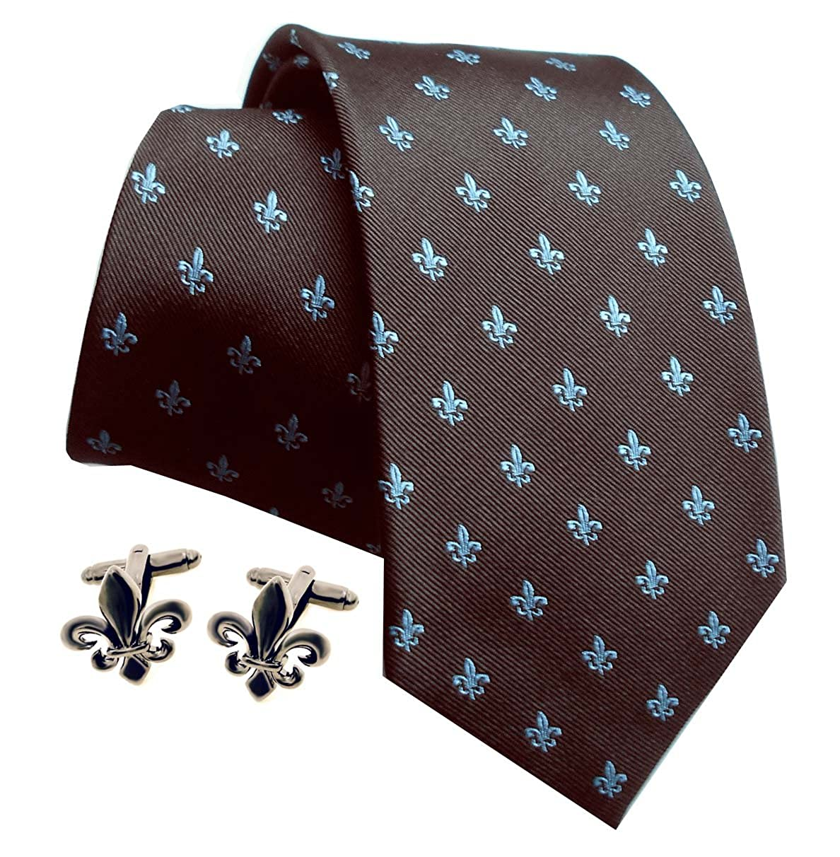 Lirios Gemelos gunmetall + seda corbata Marrón Color Azul Claro + ...