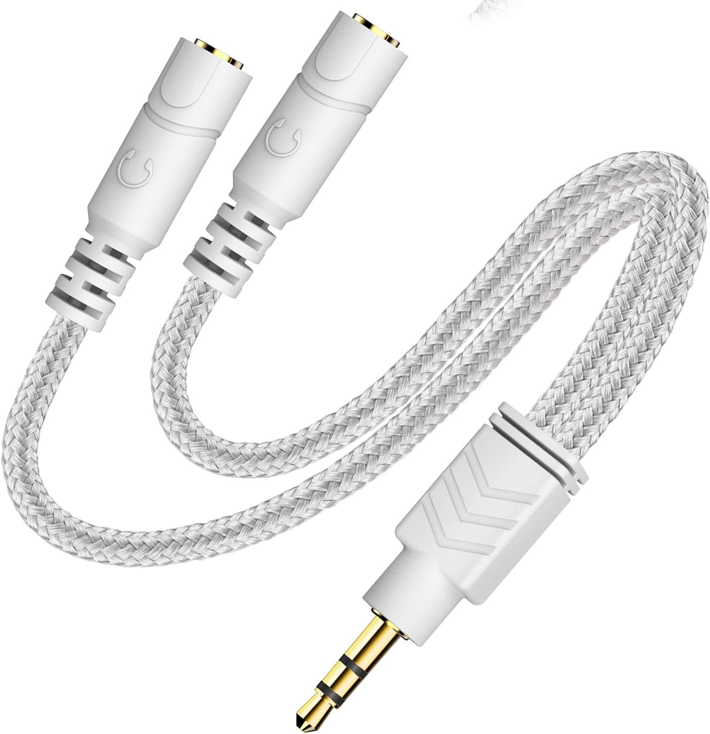 Headphone Splitter, AUX Splitter Cable for Headset Knitted 3.5mm Splitter 2-Way Audio Splitter Stereo Audio Y Cable Produces Equal Audio Output for Headphones Earphones Speakers -DuKabel Joy Series