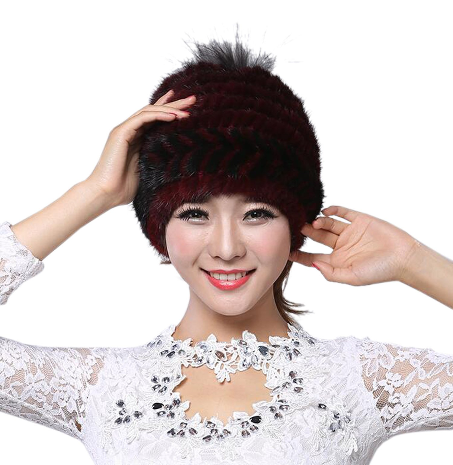 Easting Popular Women Winter Cap Knitted Mink Fur Hat New Style with Fox Fur Top (Black&Red)
